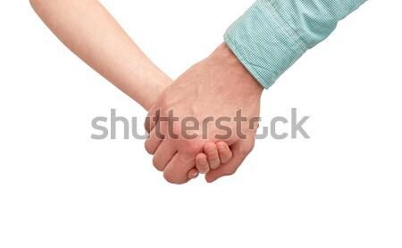 счастливым отец ребенка , держась за руки семьи детство Сток-фото © dolgachov