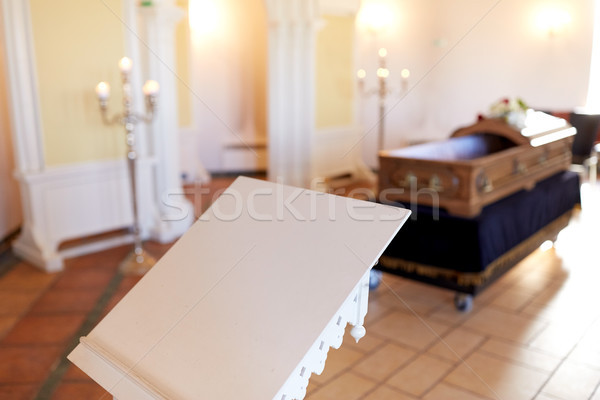 stand or tribune and coffin in church Stock photo © dolgachov