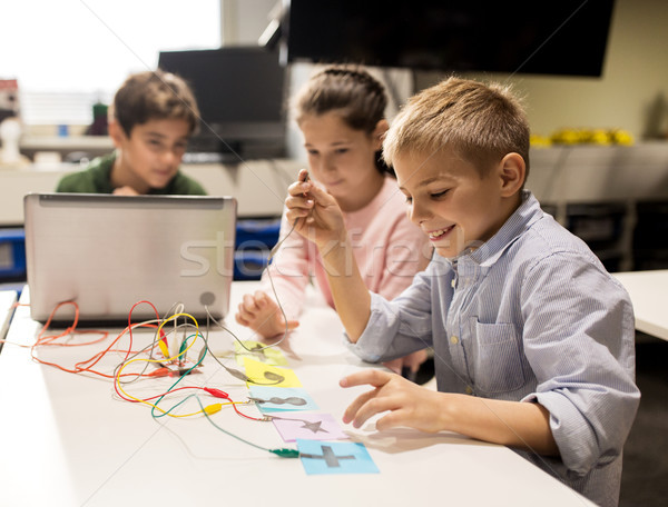 kids, laptop and invention kit at robotics school Stock photo © dolgachov