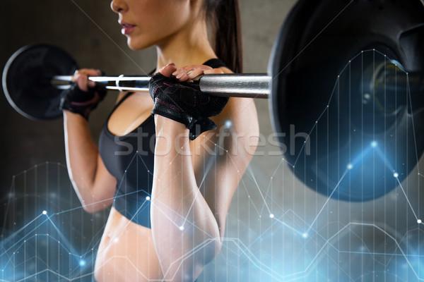 女性 バーベル ジム スポーツ フィットネス ストックフォト © dolgachov