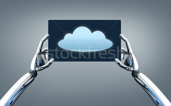 robot hands with cloud image on tablet pc screen Stock photo © dolgachov