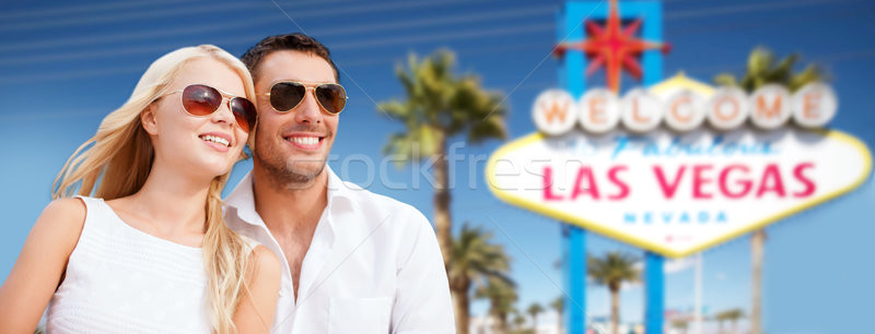 couple in shades over las vegas sign at summer Stock photo © dolgachov
