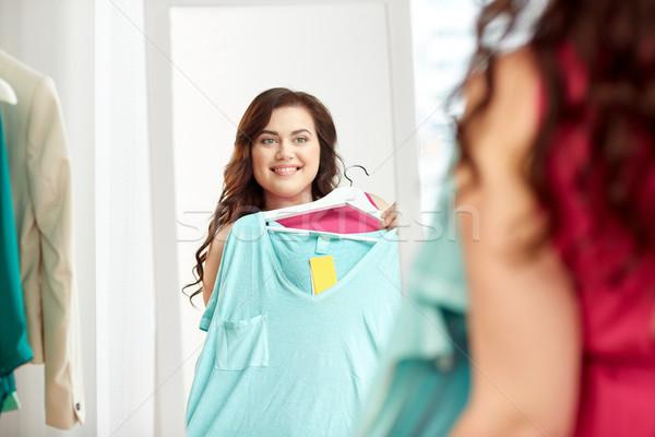 幸せ プラスサイズ 女性 シャツ ミラー 服 ストックフォト © dolgachov