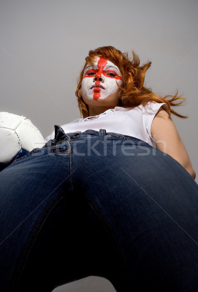 İngilizce futbol makyaj kız Stok fotoğraf © dolgachov