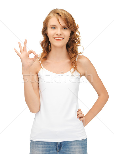 Foto stock: Nina · blanco · camiseta · signo