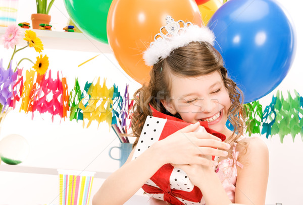 party girl with balloons and gift box Stock photo © dolgachov
