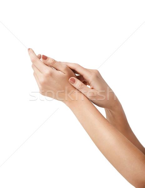 Női puha bőr kezek közelkép fürdő Stock fotó © dolgachov