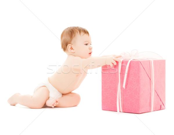 happy child with gift box Stock photo © dolgachov