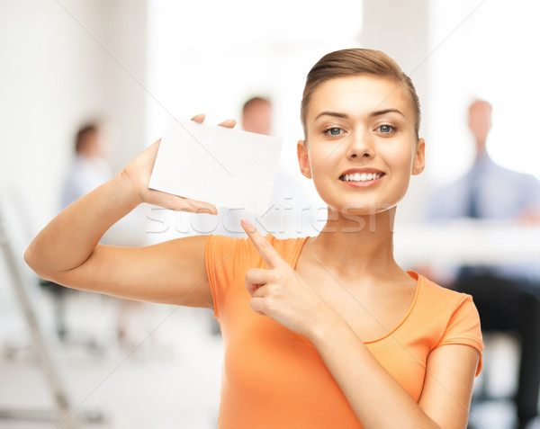 女性 ポインティング 白 ブランクカード オフィス 笑顔の女性 ストックフォト © dolgachov