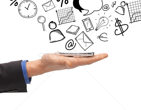 man hand with smartphone Stock photo © dolgachov