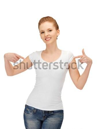 笑みを浮かべて 十代の少女 白 シャツ デザイン 子供 ストックフォト © dolgachov