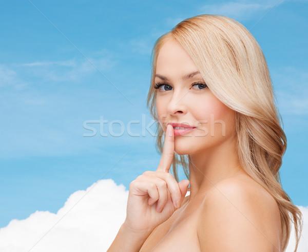 красивой указывая пальца губ здоровья Сток-фото © dolgachov