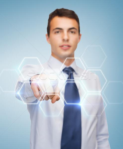 Senalando dedo virtual Screen negocios gente de la oficina Foto stock © dolgachov
