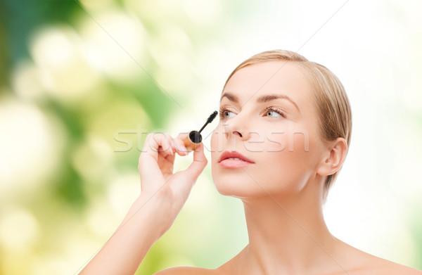 Mooie vrouw mascara cosmetica gezondheid schoonheid gelukkig Stockfoto © dolgachov