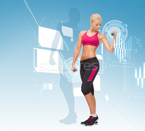 young sporty woman with light dumbbells Stock photo © dolgachov