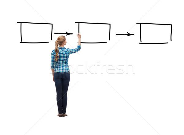 Nő hát rajz négyzetek levegő oktatás Stock fotó © dolgachov
