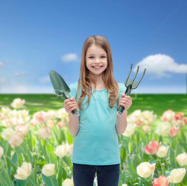 Sorridere bambina rastrello raccogliere giardino persone Foto d'archivio © dolgachov