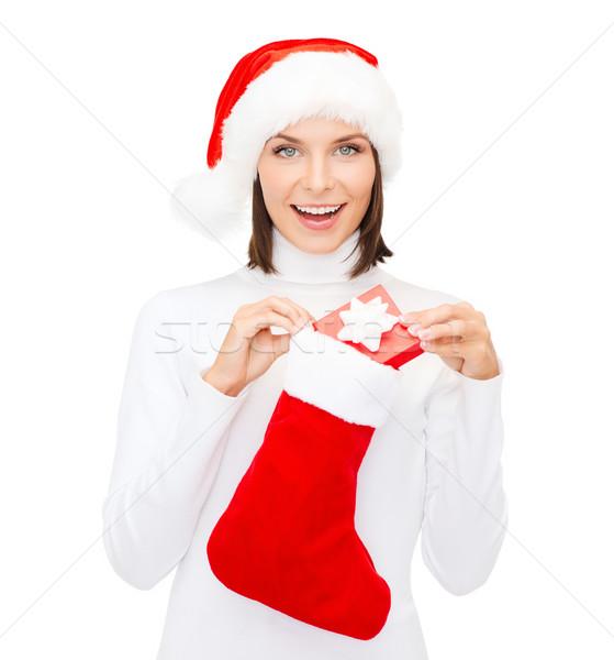 Vrouw hoed geschenkdoos kous christmas Stockfoto © dolgachov
