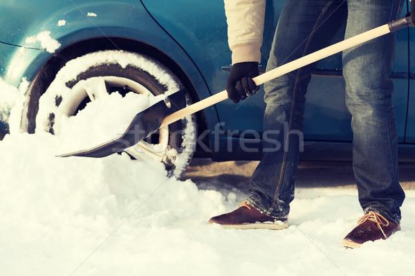 closeup of man digging up stuck in snow car Stock photo © dolgachov