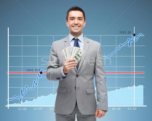 Mosolyog üzletember dollár pénz üzletemberek siker Stock fotó © dolgachov