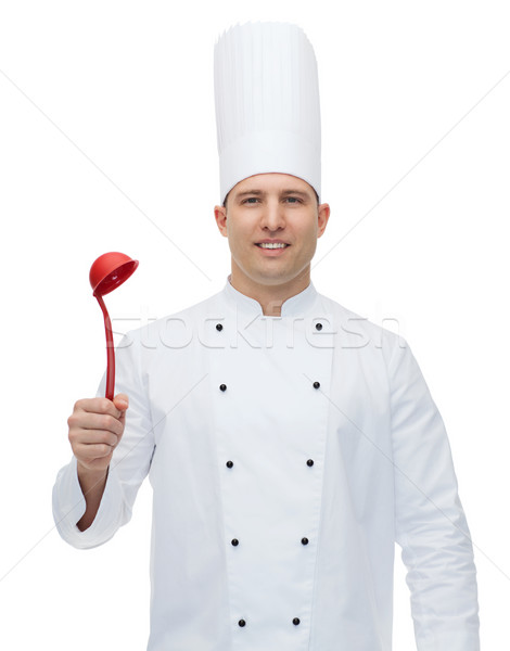 Boldog férfi szakács szakács tart merőkanál Stock fotó © dolgachov