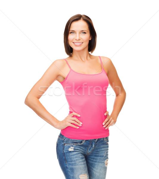 女性 ピンク タンク 先頭 デザイン 笑顔の女性 ストックフォト © dolgachov
