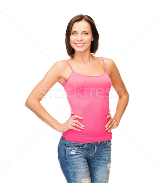 Vrouw roze tank top ontwerp glimlachende vrouw Stockfoto © dolgachov