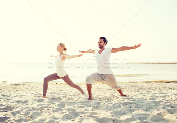 Stok fotoğraf: çift · yoga · açık · havada · uygunluk · spor