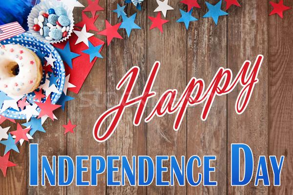Boldog nap amerikai ünneplés ünnepek közelkép Stock fotó © dolgachov