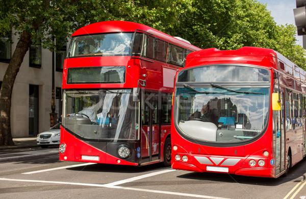 Straat Rood verdubbelen Londen stad leven Stockfoto © dolgachov