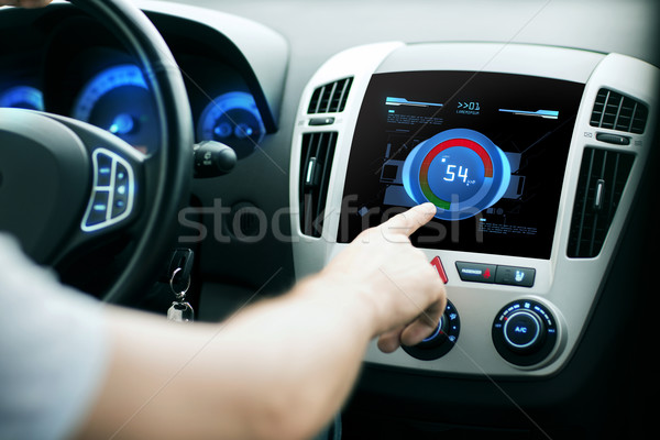 hand setting volume on car audio stereo system Stock photo © dolgachov