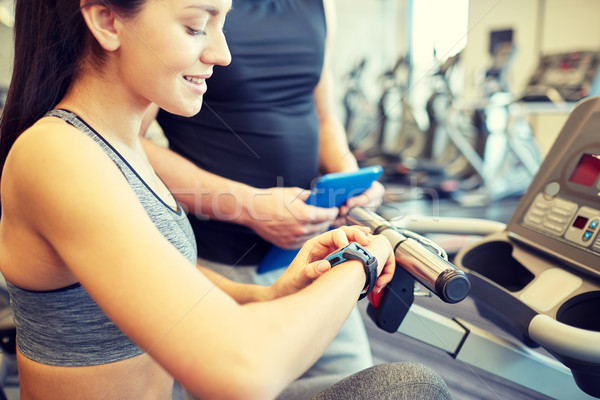 close up of woman setting heart-rate watch at gym Stock photo © dolgachov