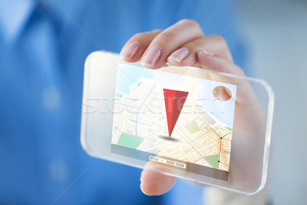 Közelkép kéz GPS okostelefon üzlet technológia Stock fotó © dolgachov