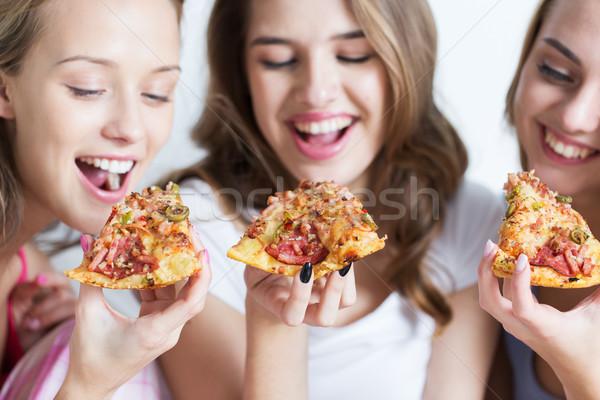 Stock foto: Glücklich · Freunde · teen · Mädchen · Essen · Pizza