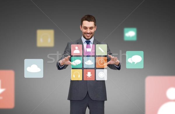 ビジネスマン 作業 メニュー アイコン 投影 ビジネス ストックフォト © dolgachov
