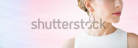 Belle femme visage or boucle glamour Photo stock © dolgachov
