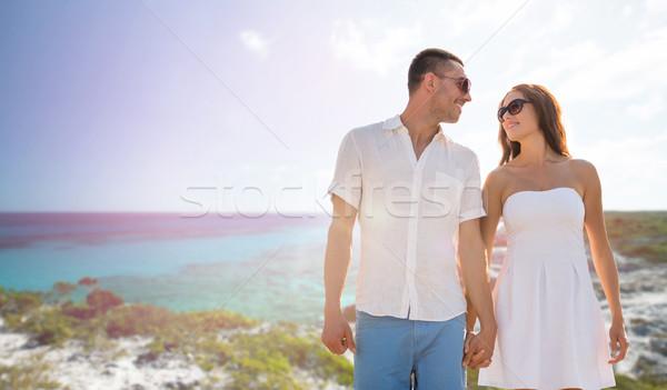 Stock fotó: Boldog · mosolyog · pár · nyár · tengerpart · tenger