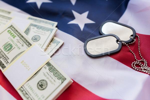Drapeau américain dollar argent militaire badges forces Photo stock © dolgachov