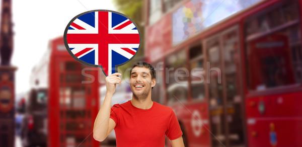Férfi szöveg buborék brit zászló London külföldi Stock fotó © dolgachov
