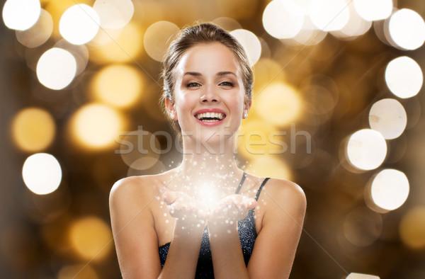 Feliz mulher vestir fadas poeira palms Foto stock © dolgachov