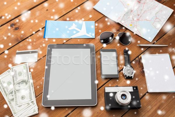 gadgets, camera and travel stuff Stock photo © dolgachov