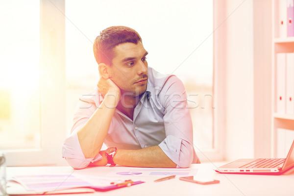退屈 ビジネスマン ノートパソコン 論文 オフィス ビジネスの方々 ストックフォト © dolgachov