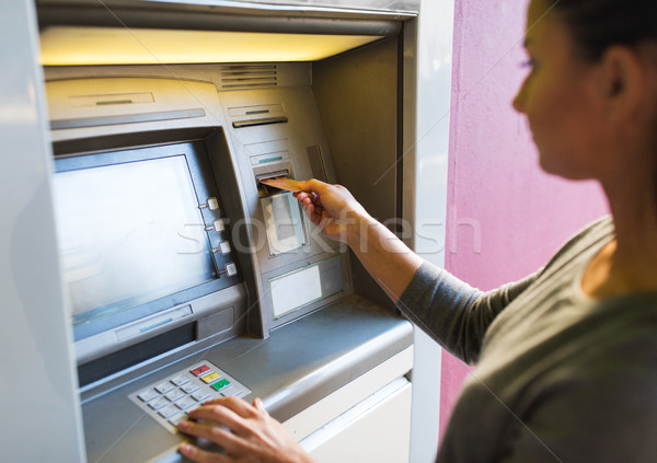 Femme carte atm machine Finance Photo stock © dolgachov