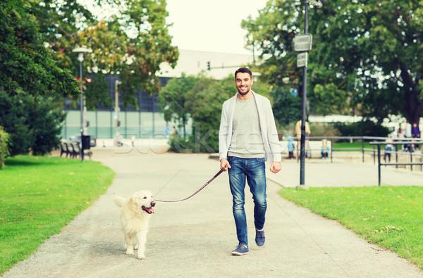 Felice uomo labrador cane piedi città Foto d'archivio © dolgachov