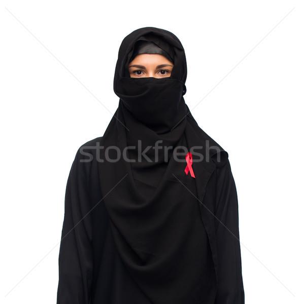 Moslim vrouw hijab Rood bewustzijn lint Stockfoto © dolgachov