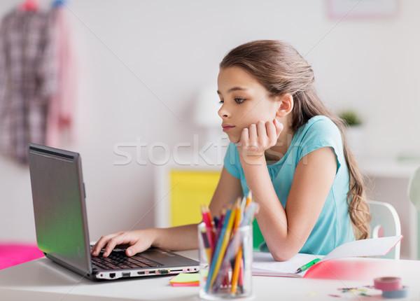 скучно девушки ноутбука ноутбук домой люди Сток-фото © dolgachov