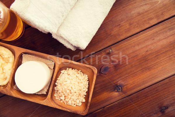 Natürlichen Kosmetik Bad Handtücher Stock foto © dolgachov