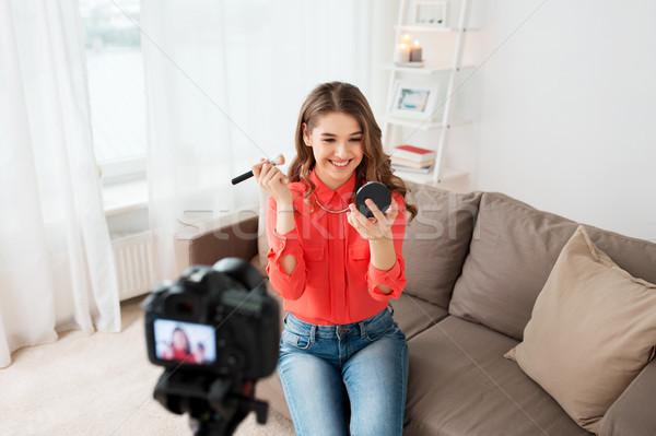 Vrouw camera video bloggen technologie mensen Stockfoto © dolgachov