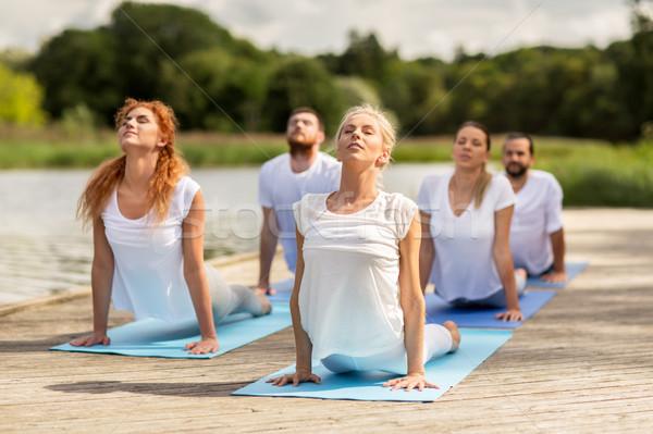 Pessoas do grupo ioga ao ar livre fitness esportes Foto stock © dolgachov