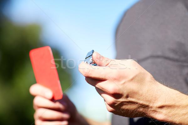 Hakem ıslık kırmızı kart futbol oyun Stok fotoğraf © dolgachov